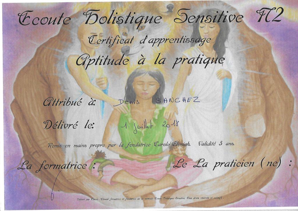 Diplome Ecoute Holistique Sensitive Niv2 Denis Sanchez